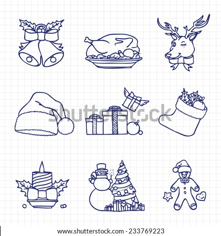 Christmas Icon Free Hand Sketch Collection, Outlines - stock vector