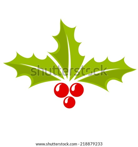 Christmas icon holly berry symbol. Vector illustration - stock vector