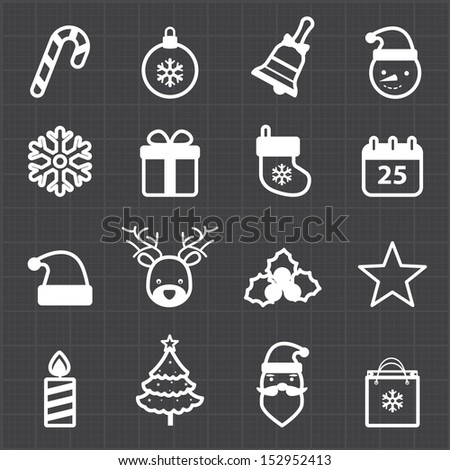 Christmas icons and black background - stock vector