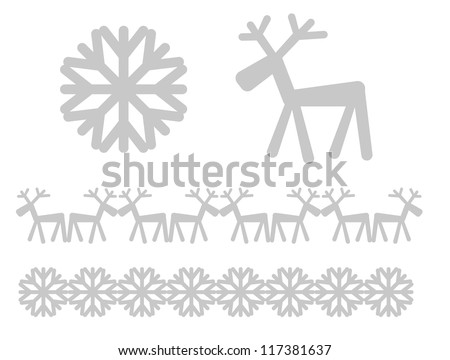 Christmas icons and design elements - reaindeer and snowflake - stock vector