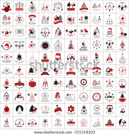 Christmas Icons And Elements Set - Isolated On White Background - Vector Illustration, Graphic Design Editable For Your Design - stock vector
