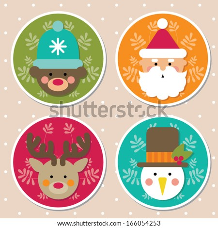 Christmas icons, cartoon characters - stock vector
