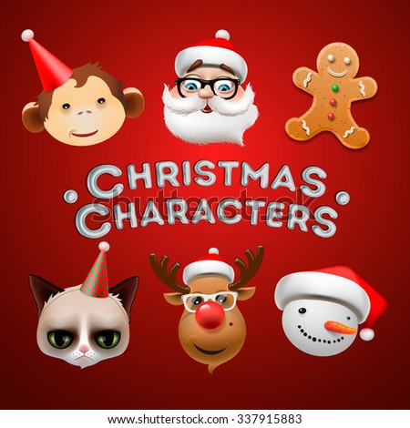 Christmas icons, cute Christmas characters, vector illustration. - stock vector