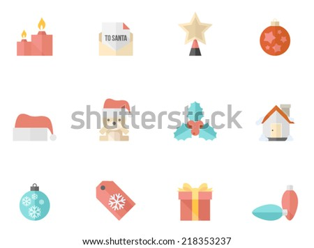 Christmas icons in flat color style - stock vector