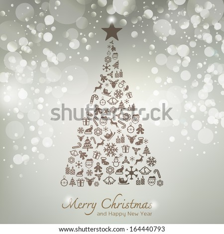 Christmas icons in pine tree shape greeting card background - stock vector