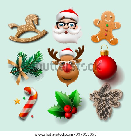 Christmas icons, objects, holiday decoration, vector illustration. - stock vector