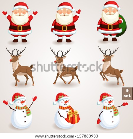 Christmas icons set. Holiday moving characters collection. Vector illustration - stock vector
