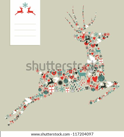 Christmas icons set in jumping deer greeting card background. Vector illustration layered for easy manipulation and custom coloring. - stock vector