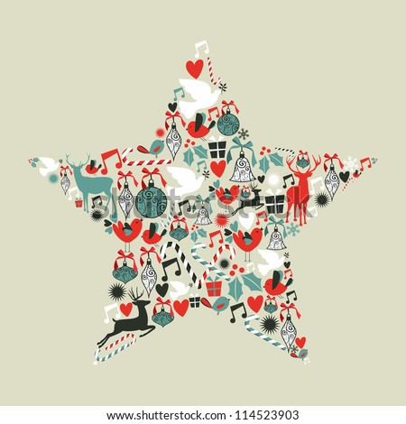Christmas icons set in star shape.Vector illustration layered for easy manipulation and custom coloring. - stock vector