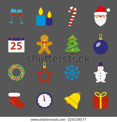 Christmas icons set. New Year and Christmas symbols in flat style. Colorful vector illustration. - stock vector