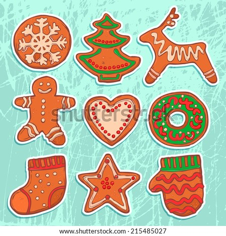 christmas icons set with gingerbread, christmas bakery, new year cookies - stock vector