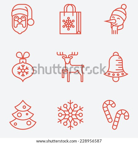 Christmas icons, thin line style, flat design - stock vector