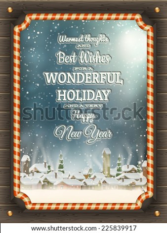 Christmas illustration frame with baubles and winter village. EPS 10 vector file included - stock vector