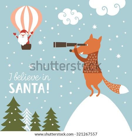Christmas illustration, I Believe in Santa Clause - stock vector