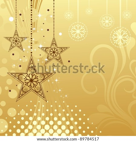 Christmas illustration like Christmas stars, floral, snowflakes, halftone & circle in golden Background for Christmas & other occasions. - stock vector