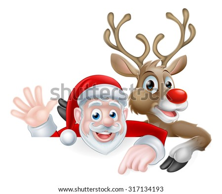 Christmas illustration of cartoon Santa and reindeer peeking above sign pointing and waving - stock vector