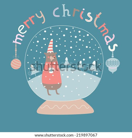 Christmas illustration of christmas glass ball with cute bear in knitted sweater and hat holding cut of hot chocolate. Warm winter wishes and merry christmas. - stock vector