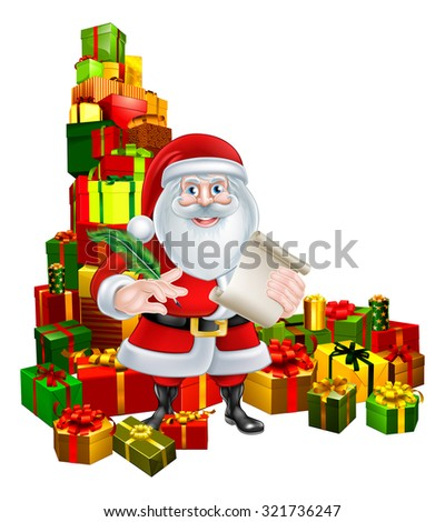 Christmas illustration of Santa Claus holding a scroll or naughty or nice Christmas list and pen quill feather pen and standing in the middle of a huge stack of gift presents - stock vector