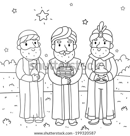 Christmas illustration, three wise men, coloring, vector - stock vector