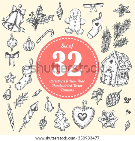 Christmas illustration vector hand painted set of holiday cartoon sketch objects. Art collection on the light background. - stock vector