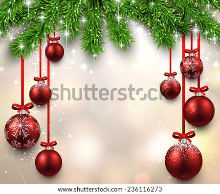 Christmas illustration with fir twigs and red balls. Vector background.  - stock vector