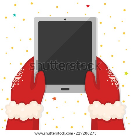 Christmas illustration with hands holding a tablet, vector. - stock vector