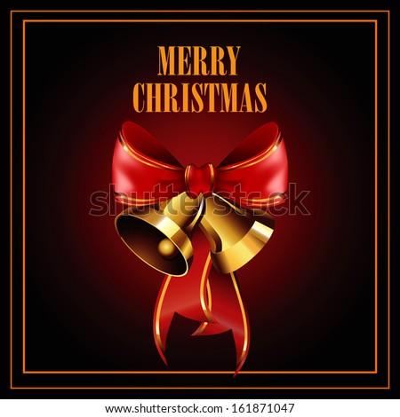 Christmas illustration with jingle bells - stock vector