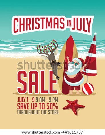 Christmas in July Sale marketing template. EPS 10 vector. - stock vector