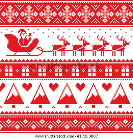 Christmas jumper or sweater seamless red pattern with Santa and reindeer  - stock vector