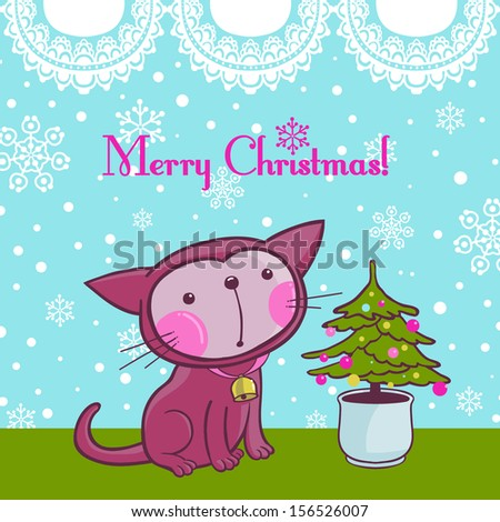 Christmas Kitty Cat on the Snow Window with it's own Christmas Tree. Greeting Card. VECTOR. - stock vector
