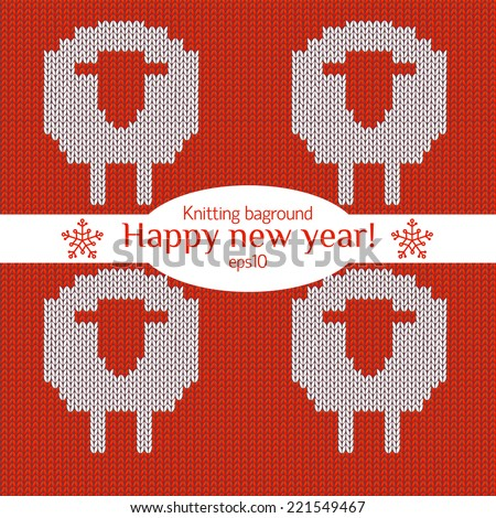 Christmas Knitted background with sheep. - stock vector