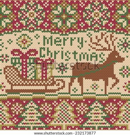 Christmas knitted pattern with reindeer. Beautiful seamless border. Northern style. Deer and sledge with gifts boxes. Creative vector illustration. - stock vector