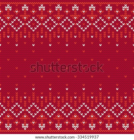 Christmas knitting seamless pattern in White and Red. Perfect for wallpaper, wrapping paper, pattern fills, winter greetings, web page background, Christmas and New Year greeting cards - stock vector