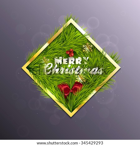 Christmas Label Made of Gold Frame and Pine Branches and Decorated with snowflakes. Vector - stock vector