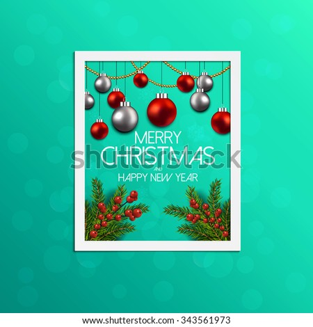 Christmas Label Made of Pine Branches and Decorated with Colored Baubles and berries. Vector - stock vector