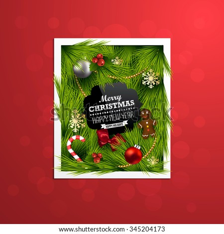Christmas Label Made of Pine Branches and Decorated with Colored Baubles, sweets, snowflakes, bow and berries. Vector - stock vector