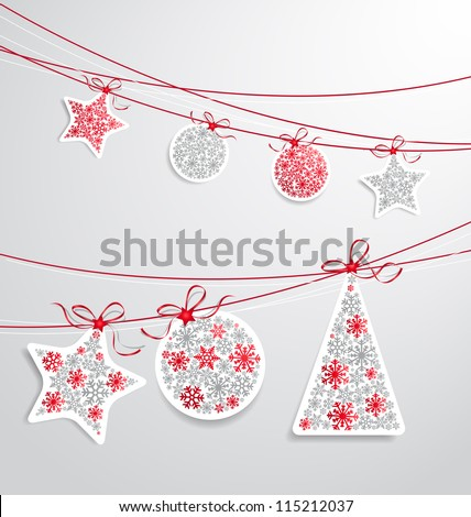 Christmas label set with ribbons - stock vector