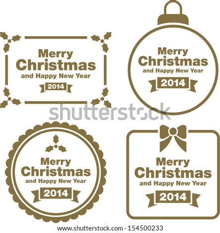 Christmas labels and decorations - stock vector