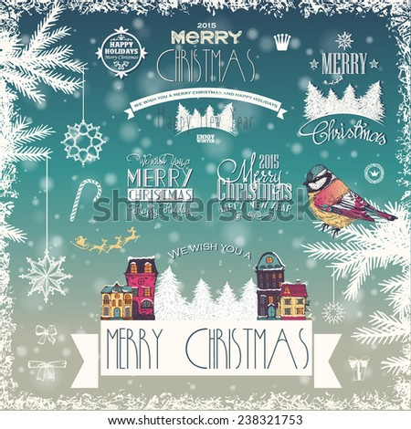 Christmas labels on blurred background  - stock vector