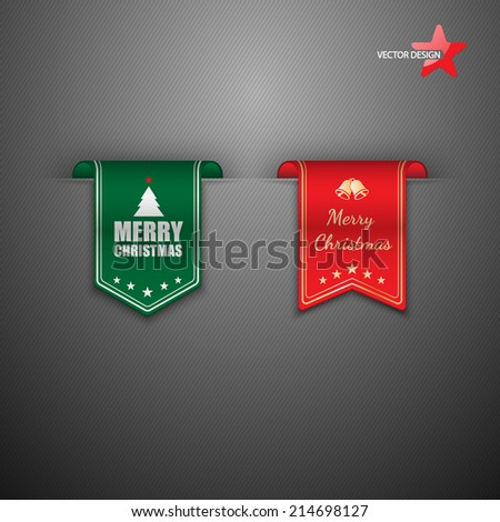 Christmas labels set - stock vector