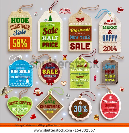 Christmas labels, tags, badges and holiday icons set. Vintage collection for Xmas retro design. Sale tags. - stock vector