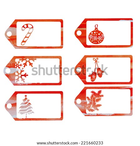 Christmas labels vector watercolor in orange - stock vector