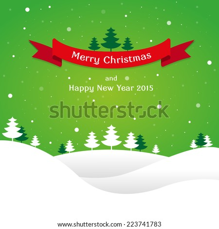 Christmas landscape background with snow and tree, wish - stock vector
