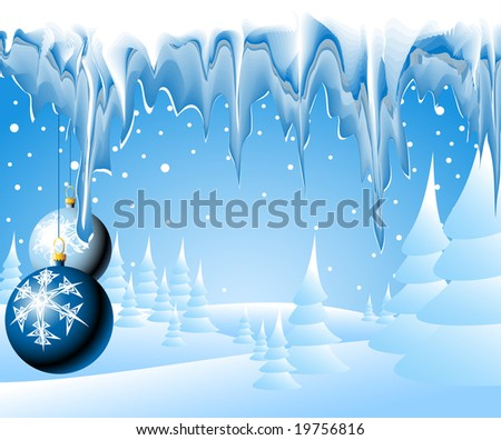 Christmas landscape with christmas bulbs and icicles - stock vector