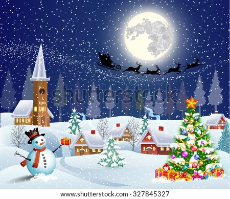 Christmas landscape with christmas tree and snowman with gifbox.  background with moon and the silhouette of Santa Claus flying on a sleigh. concept for greeting or postal card, vector illustration - stock vector