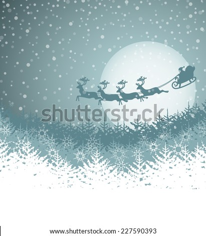 Christmas landscape with Santa Claus and sleigh - stock vector