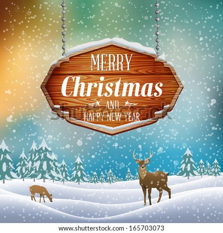 Christmas landscape with wooden sign. Vector Illustration. - stock vector