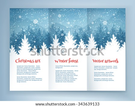 Christmas leaflet design template with winter spruce forest landscape and falling snow. - stock vector