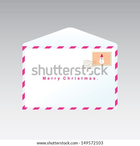 christmas  letter with stamp - stock vector