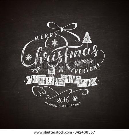 Christmas lettering illustration - stock vector